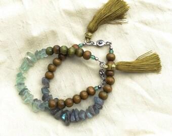 Green Tassel Bracelets, Gemstone Chips Layering Bracelets, Wooden Bracelet
