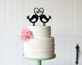Wedding Cake Topper - Love Birds with Initials Wedding Cake Topper