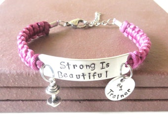 Strong Is Beautiful #1 Trainer Workout  Weight Lifting Bodybuilding Barbell Charm Bracelet You Choose Your Cord Color(s)