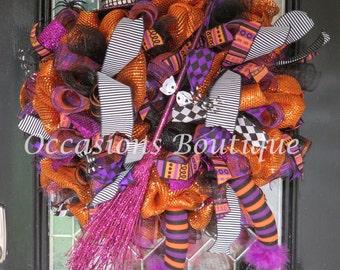 Wicked Witch Halloween Wreath, Halloween Wreath, Deco Mesh Wreath, Halloween Decoration, Front door wreath