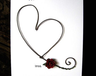 Happy 6th Wedding Anniversary Keepsake Card IRON Wire Heart 6 Years Traditional Gift Husband Wife