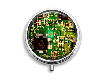 Circuit Board Pill Box, Computer Geek Gift, Pill Travel Case, Vitamin Container