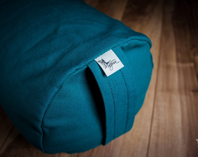 Yoga bolster Teal Plain buckwheat body pillow restorative practice yin by Creations Mariposa