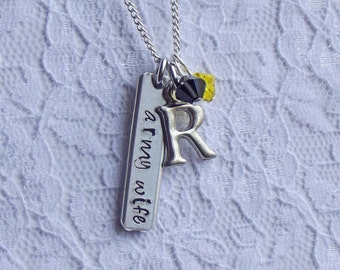 Army Wife Charm Necklace - Hand Stamped, Jewelry, Military, Wife, Soldier, Swarovski, Wounded Warrior Foundation, Support the Troops