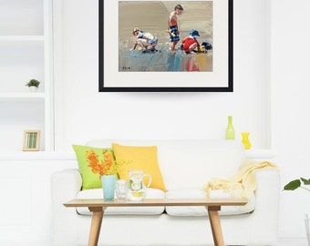 "8"" x 10"", 11"" x 15"", 16"" x 21"", 24""x32"", art print, of my, impressionist painting,'Sand Play Petite'.Seaside Beach Art, Home Decor, Wall Art"