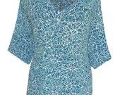 "Plus Size Tunic Batik Tops   Women's Plus Size Clothing, 1x 2x Casual Boho Top in Blue Aqua, Lagenlook Plus Size,  One Size  54"" Bust XL XXL"