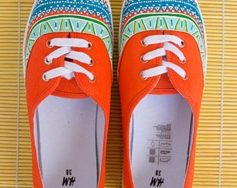 Hand painted Women Canvas Shoes, Orange Sneakers with ornament: Citrus