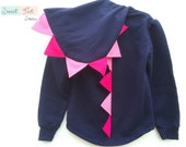 Girls Small Navy Dinosaur Hoodie with Pink Spikes