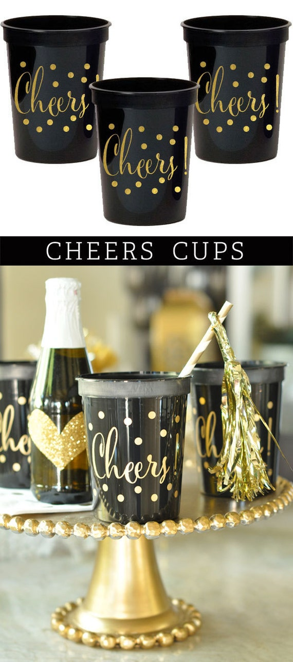 Wedding Cups - Plastic Cups for Wedding - Cheers Cups - Cocktail Cups - Bridal Shower Cups - Reusable Cups  (EB3104) - set of 25 CHEERS CUPS