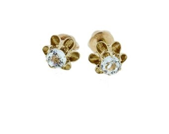 10K Yellow Screwback Earrings With White Topaz