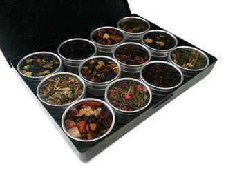 TEA GIFT, tea sampler, flavored teas, organic teas, for mom, tea lover, Birthday, fruit teas , loose leaf tea, gift box, tea ball infuser.