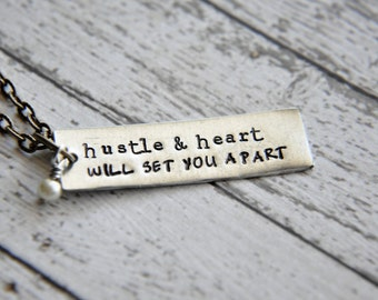 Crossfit Necklace - Hand Stamped Necklace - Hustle and Heart Necklace - Crossfit Jewelry - Fitness Necklace - Motivational - Inspirational