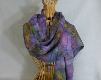 "Hand Painted Silk Jacquard Scarf ""Mauve and Eggplant Blend"""