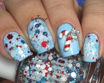 Peppermint Blizzard Nail Polish Christmas Holiday Handmade Custom Glitter Topper Nail Polish Lacquer