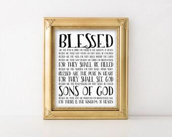 Christian print. Beatitudes. Blessed. Matthew 5:3-10. Instant download printable. Wall art. Home decor. Subway art poster. Bible verse.