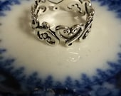 Estate Sterling Silver 925 Ring Heart to Heart Love Victorian Band Anniversary Birthday Sweetheart R40