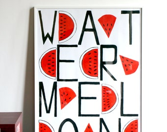 Watermelon Text Pattern Framed Pop Art Painting