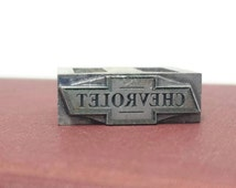 Vintage Chevrolet Printers Block, Letterpress Print Stamp, Chevy Bowtie Logo, Linotype, Typography, Assemblage, Scrapbooking, Mixed Media