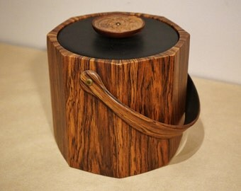 Vintage Faux Wood Vinyl Ice Bucket Made by Kraftware NYC