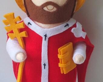 Saint Gregory the Great Felt Saint Doll Catholic Religious Doll