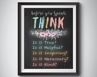 Think Before You Speak, Teacher Gift, Classroom Rules Poster, Classroom Sign, Homeschool Rules, Homeschool Decor Print, Chalkboard Print