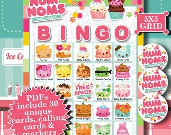 Num Noms 5x5 Bingo printable PDFs contain everything you need to play Bingo.