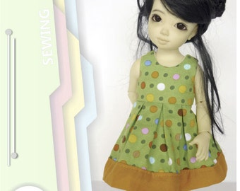 PDF Pattern for YoSD BJD. Sleeveless dress with pleated skirt.