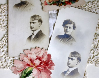 Antique Photos A Girl and Her Beau, Victorian Calling Card, Carnation Litho