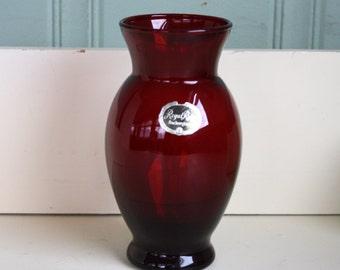 Royal Ruby Red Vase Anchor Hocking