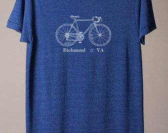 Richmond bike tee, Richmond Virginia tshirt, Richmond tshirt, RVA bicycle tshirt