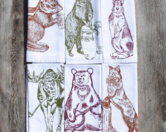 Cloth Table Napkins - Screen Printed Cotton Napkins Set of 6 - Forest Animal Napkins