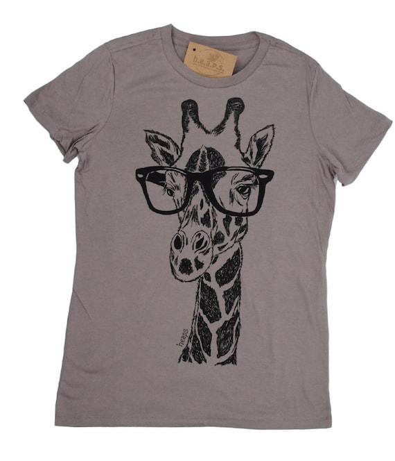 Womens t shirt giraffe tee screen print hipster tshirt for Screen printing on tee shirts