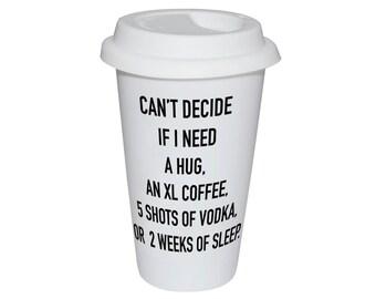 Travel mug, take away mug, ceramic with silicon lid, 300ml double-wall, dishwasher save, personalized, custom made