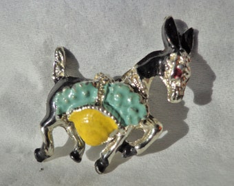 Sweet Vintage Donkey or Burro Pin With Basket of Flowers