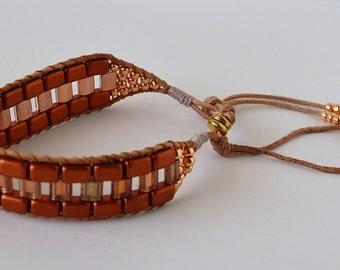 Gold, Galvanized Rose gold beaded bracelet