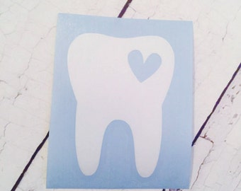 Dental Hygienist Decal, Tooth and Heart Decal, Dentist, Tooth Decal, Monogram Decal, Car Window Decal, Vinyl Sticker, Decal, Dental Assistan
