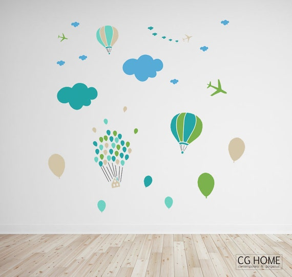 huge Wall Decals CLOUDS World Customized Nursery stickers CLOUDS pattern mint cloud Decoration for kids wall decal CGhome