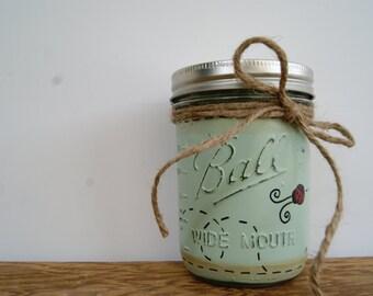 Distressed mason jars, Ladybug decor, bathroom decor, Mason jar decor, Painted mason jars, Bathroom storage jar, Jars