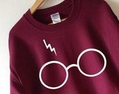 Harry Potter Sweatshirt Lightning Glasses Sweater Crew Neck High Quality SCREEN PRINT Super Soft fleece lined unisex Worldwide ship