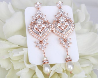 Rose Gold Bridal earrings, Wedding earrings, Long Statement earrings, Chandelier earrings, Bridal jewelry, Art Deco earrings, Vintage style