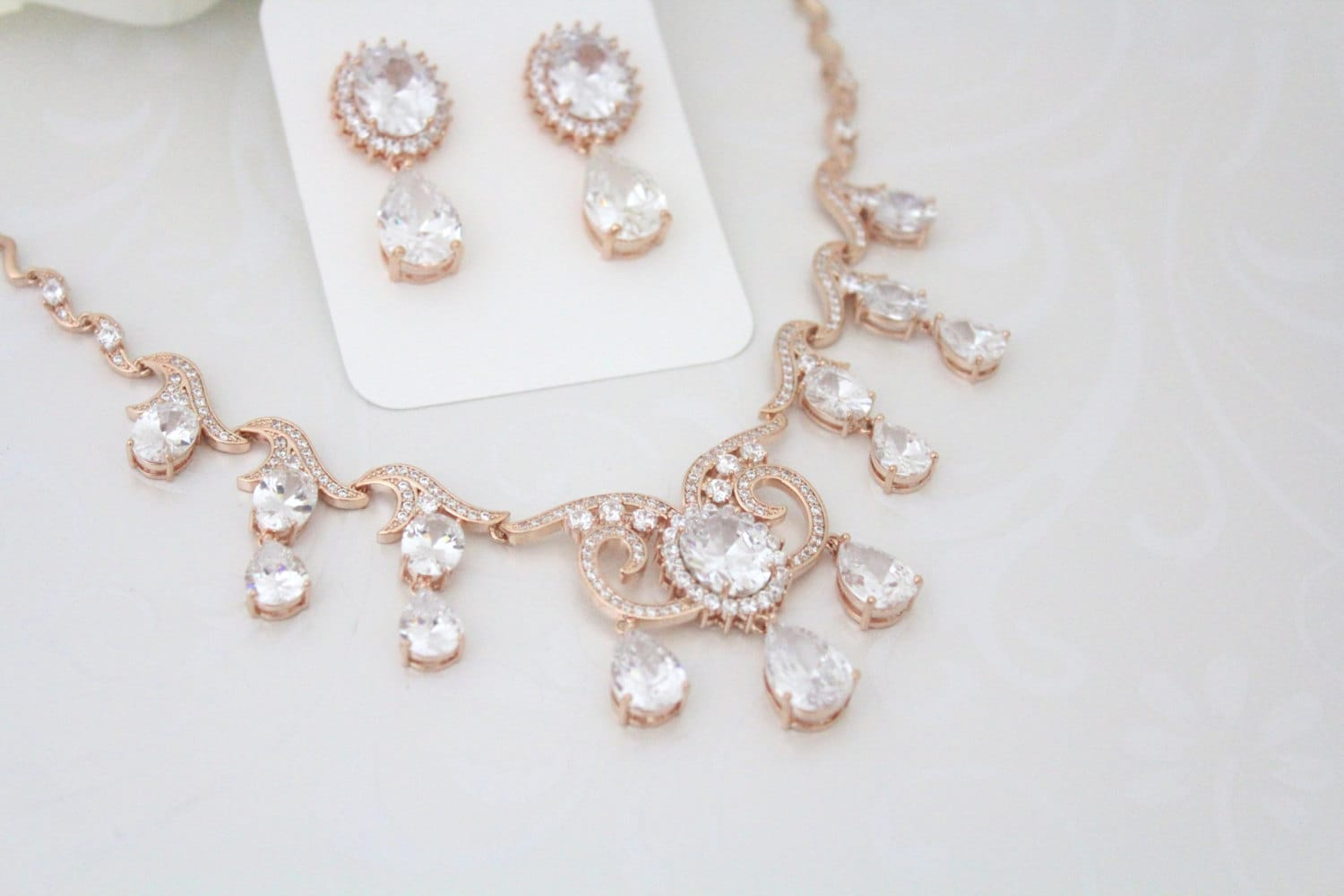 Rose Gold necklace Rose Gold earrings Wedding jewelry set