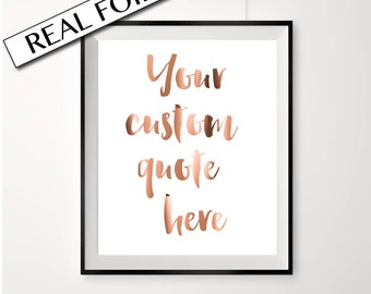 Real Copper Foil Print // YOUR CUSTOM QUOTE // Copper Foil Poster // A4 or A3 size // large foil print // custom copper foil quote