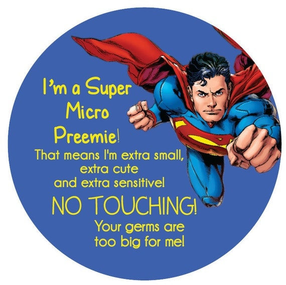 Superman Preemie, newborn, baby car seat tag, baby shower gift, stroller tag, baby Preemie no touching car seat sign