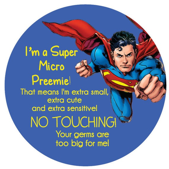 Superman Preemie sign, newborn, baby car seat tag, baby shower gift, stroller tag, baby Preemie no touching car seat sign