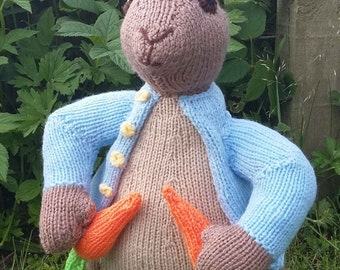 Peter Rabbit Ornament - Beatrix Potter Toy/Handknitted Doll/Rabbits/Traditional/Home Decor/Handmade/Toy/Gift for a Newborn/Gift for a Friend