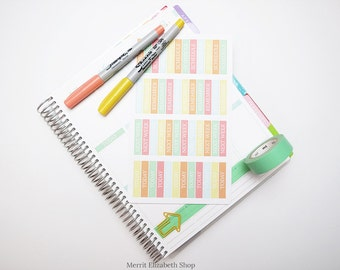 Polished Sentiment Header Bars Sticker Sheet (Version 2) : Sherbert Theme Planner Stickers