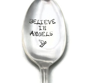 Stamped Silverware, Believe in Angels, Engraved Vintage Spoon, Inspirational Gifts Under 15  Angel Spoon Stamp Personalized Flatware