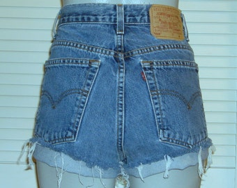 Vintage Levis 550 High Waisted Cut Off Blue Jean FESTIVAL Shorts~14~