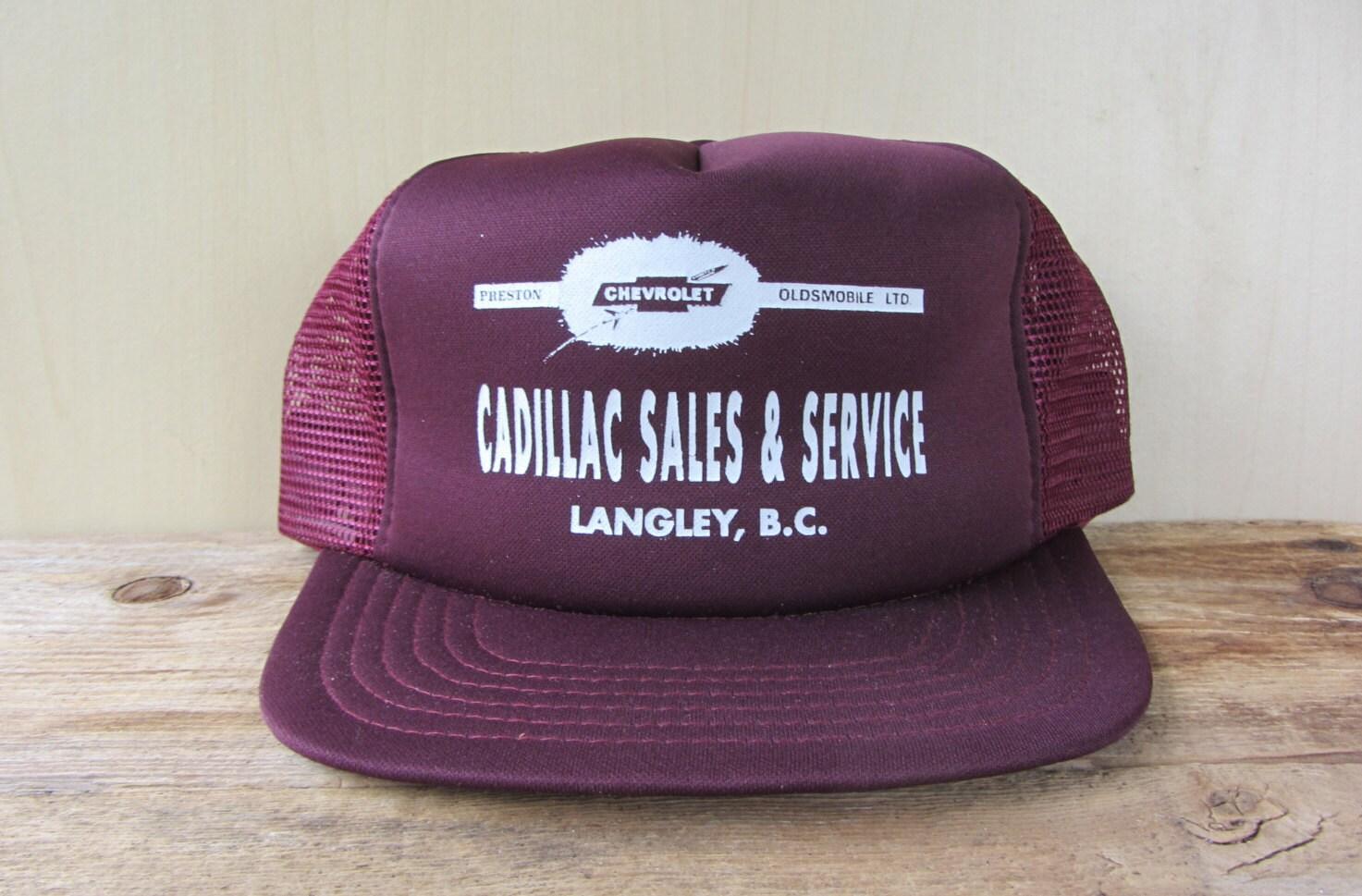 CADILLAC Sales   Service Vintage 80s Trucker Hat Burgundy Mesh Snapback Baseball  Cap Car Langley Dealership 067d51caef50
