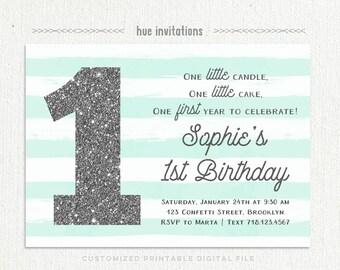 1st birthday invitation aqua blue stripe silver glitter one, birthday boy or girl gender neutral digital printable baby invitations
